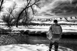 Enjoying a winters day on the Weber river, Utah